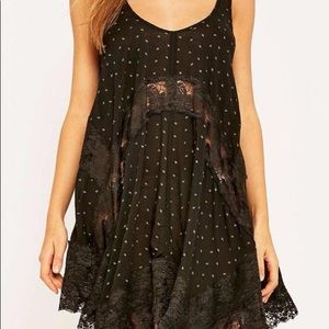 Free People black and gold lace slip dress
